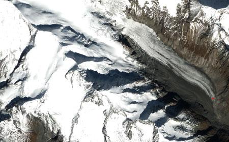 Il ghiacciaio Pasterze visto dal satellite | Foto Nasa