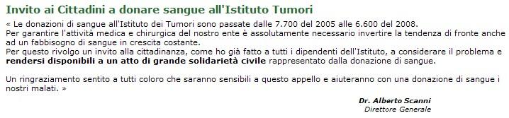 Dall'home page dell'Istituto tumori di Milano